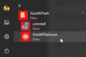 Mi Flash Tool on start menu