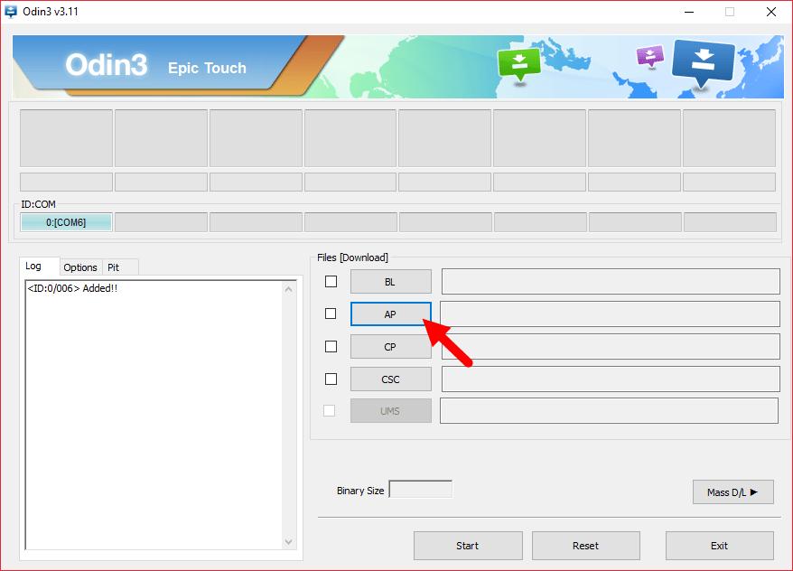 Samsung Odin3 select tar file